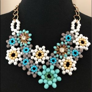 Faceted Pearl Aqua bead crystal statement necklace